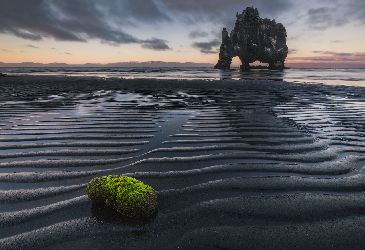The dramatic rock stack, Hvítserkur, can be found in North Iceland.