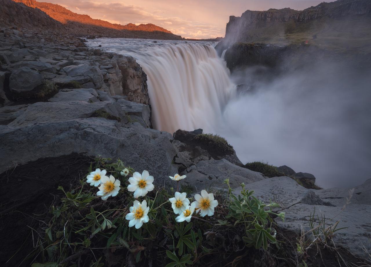 La cascata Dettifoss bagnata dalla luce estiva, come in un film.