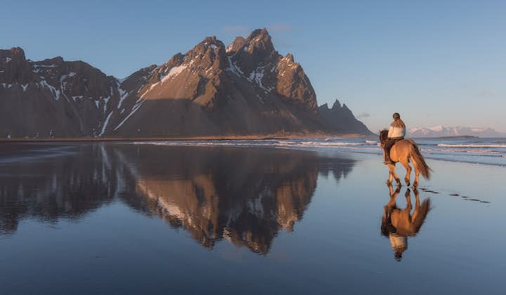 The magnificent Vestrahorn mountain on a bright and still day in the Autumn.