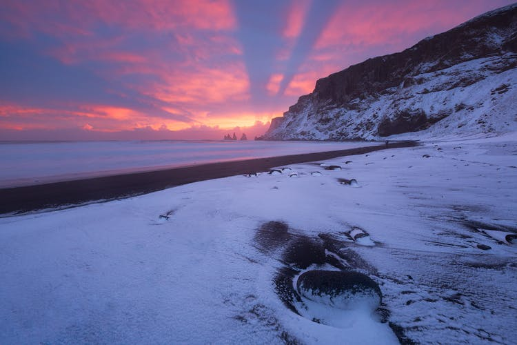 Rich winter colours accompany the golden hours of light in the Icelandic wintertime.