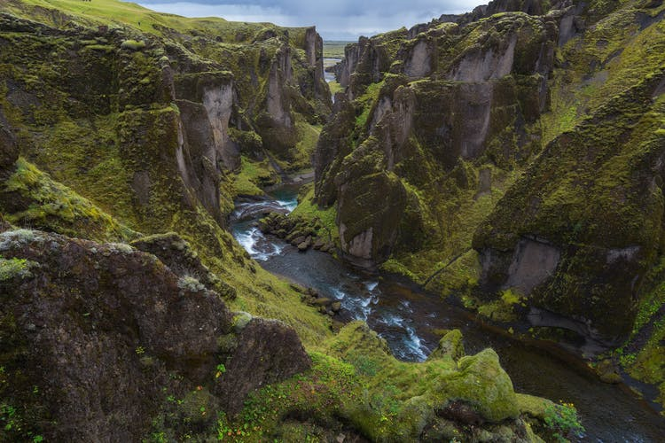 Dramatic moss covered canyons, such as this one, Fjaðrárgljúfu, spark the imagination; so much so that Game of Thrones used this location for scenes in Season 8 of the show.