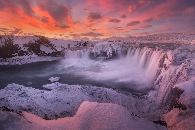 Goðafoss waterfall, frozen during the wintertime.