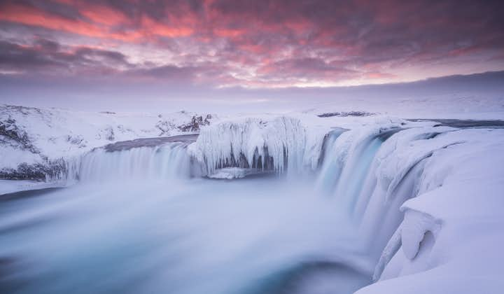 The waterfall, Goðafoss, frozen in the wintertime.