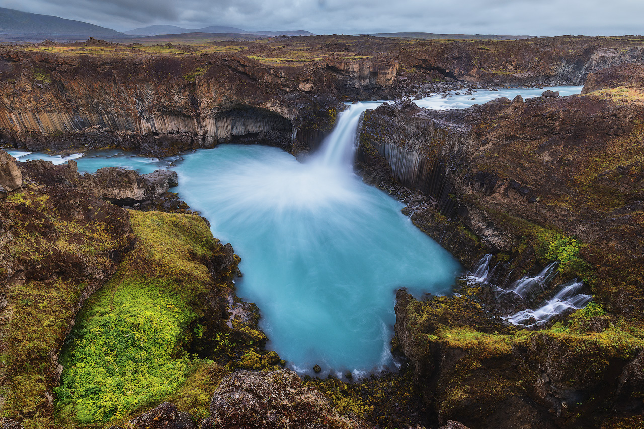 Aldeyjarfoss waterfall is found in the north of Iceland.