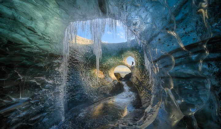 Icicles inside an authentic ice cave in Vatnajökull National Park.