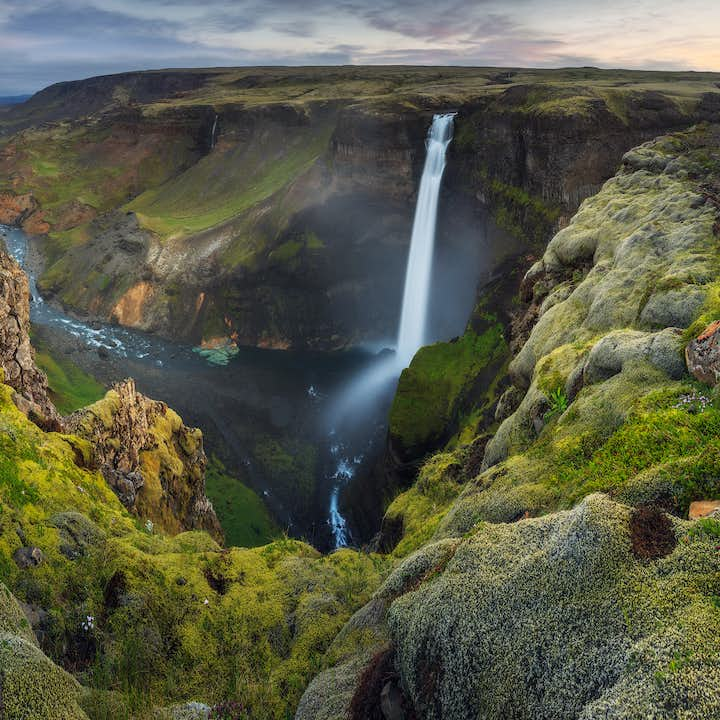 Háifoss falls from great heights in the midst of Iceland's remote and wild Highlands, known for their raw beauty.