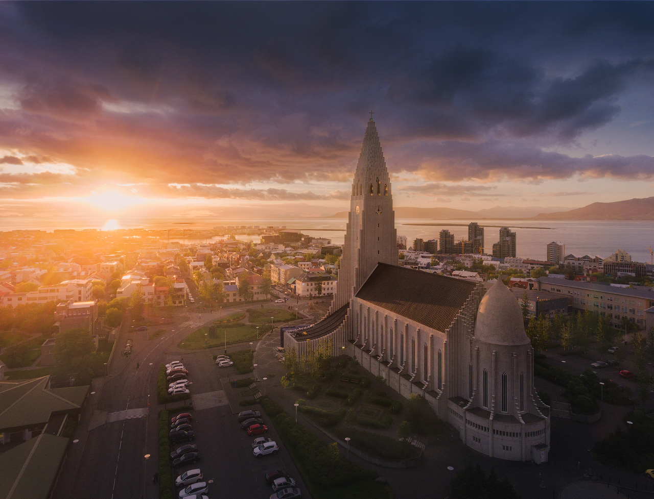 Hallgrímskirkja church is arguably one of the most iconic sights to be seen in the capital Reykjavík; here, you can see it bathed in the warm shades of sunset.