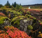 Þingvellir National Park looks brilliant in its warm autumnal shades.