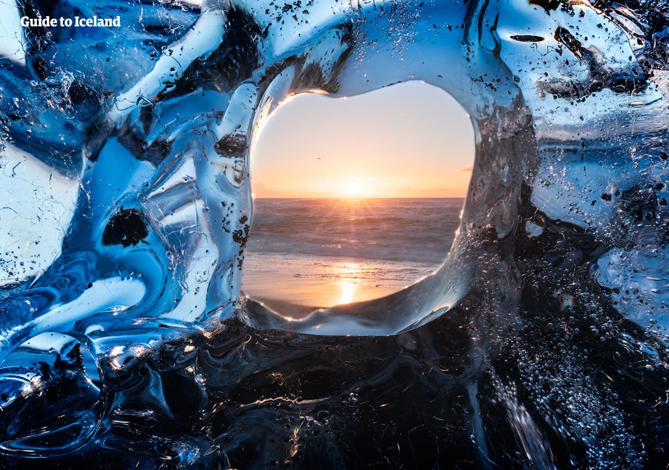 Peering through an iceberg at Diamond Beach in South Iceland.
