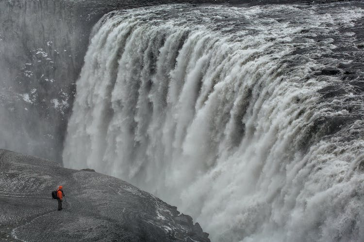 Europe's most powerful waterfall, Dettifoss, in the winter.