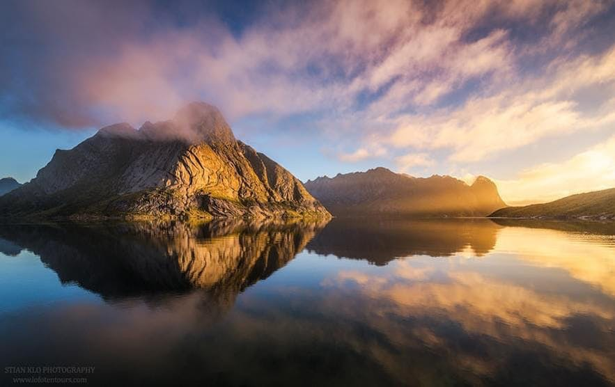 Midnight sun in Lofoten