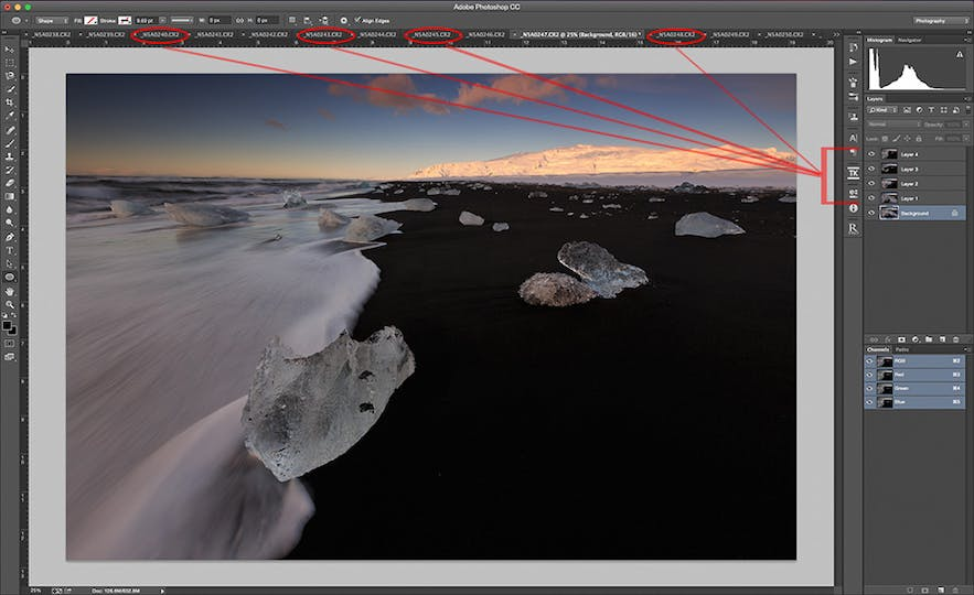 Stack the layers in Photoshop - Photo by Patrick Marson Ong