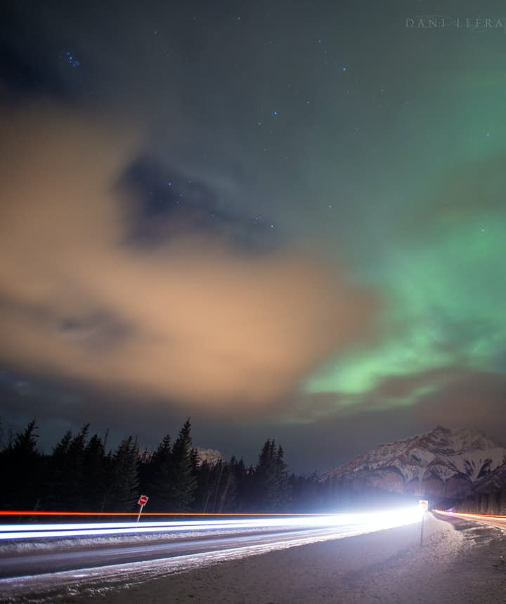 The aurora is beautiful even on a cloudy day - Photo by Dani Lefrancois