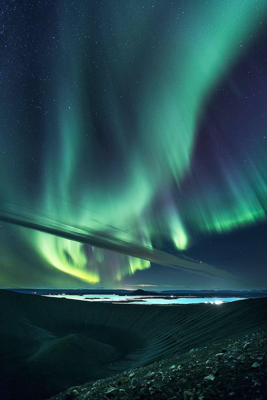 Northern Lights over Hverfjall