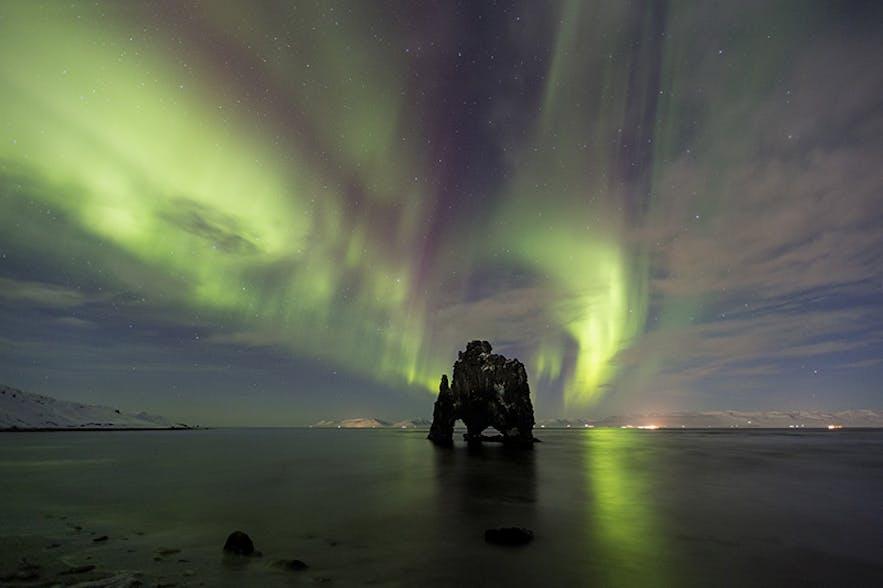 Northern Lights over Hvitserkur. Photo by: 'Jon Hilmarsson'.