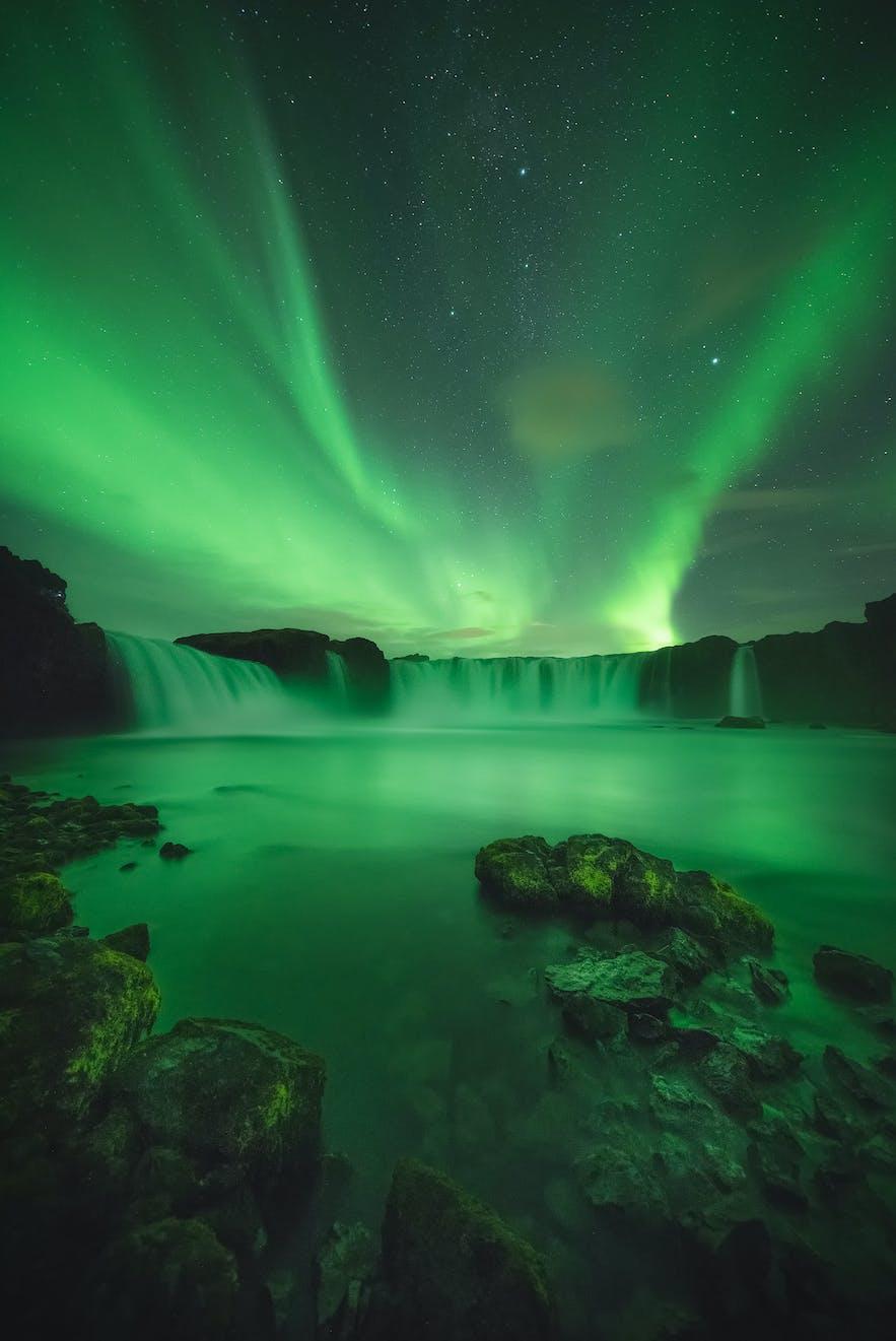 Northern Lights over Godafoss. Photo by: 'Kaspars Dzenis'.