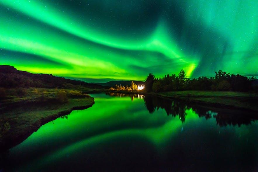 Aurora at Thingvellir. Photo by: 'Pall Jokull Petursson'.