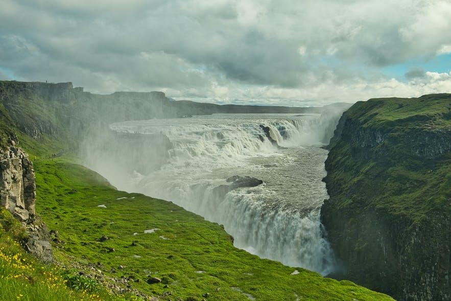 Gullfos waterfall in summer