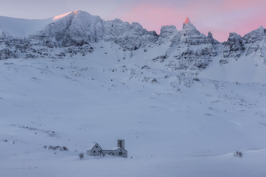 Telephoto shot of winter in north Iceland