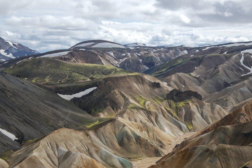 A view to the colourful Torfajokull glacier and caldera