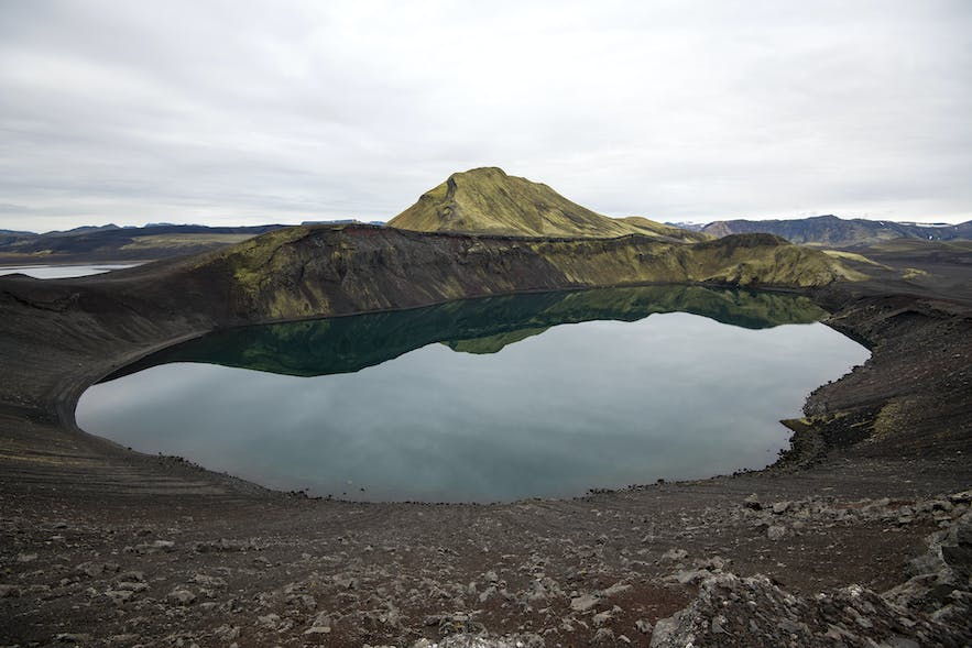 Hnausapollur crater with a small lake at the bottom