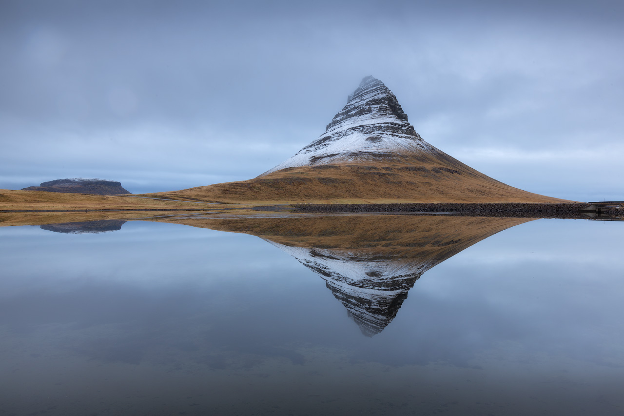 Mount Kirkjufell changes in appearance depending on which perspective you view it from.