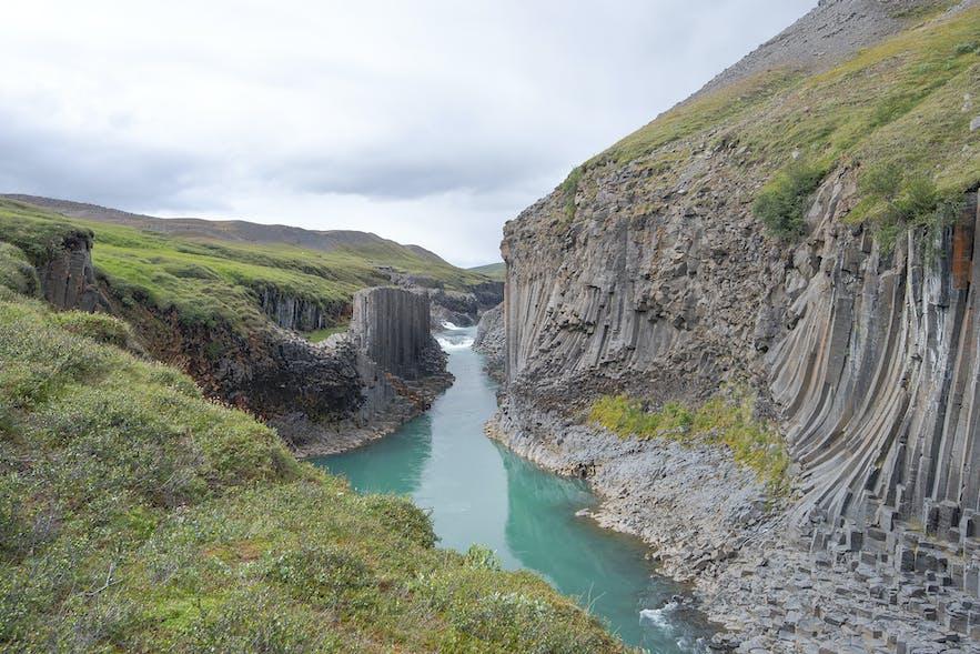 Stuðlagil basalt column canyon in Jökuldalur