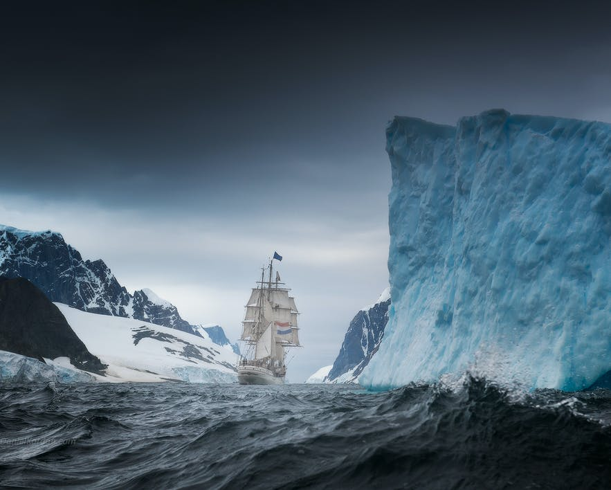 The Greg Mortimer sails easily through choppy Antarctic waters.