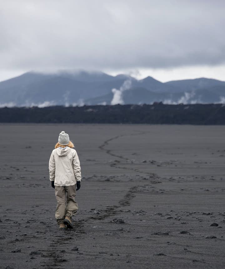 Holuhraun is a carpet of lava sitting on a sand near Drekagil