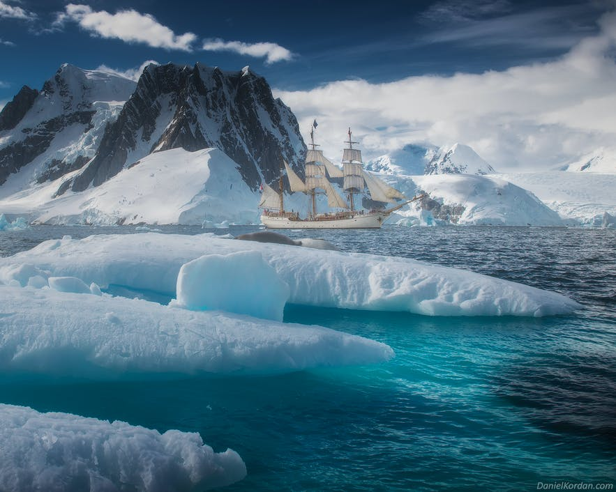 A polarising filter can help with landscape photography in Antarctica.