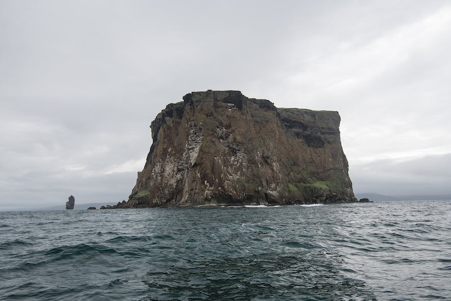 Drangey is a rock island in the middle of Skagafjörður fjord
