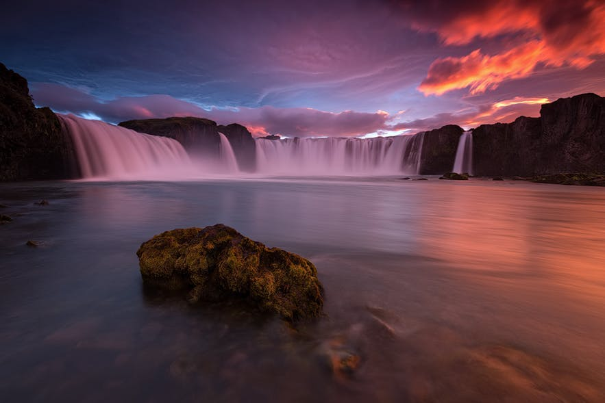 The midnight sun creeps over the Godafoss waterfall - Iceland Photography | Everything You Need To Know