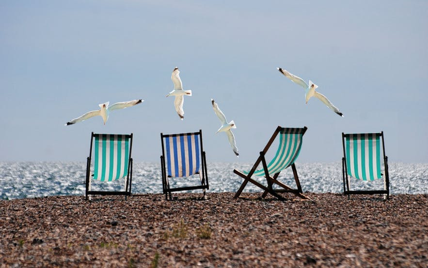 Four seagulls fly over four empty deck chairs on a rocky beach - landscape Photography | Everything You Need To Know