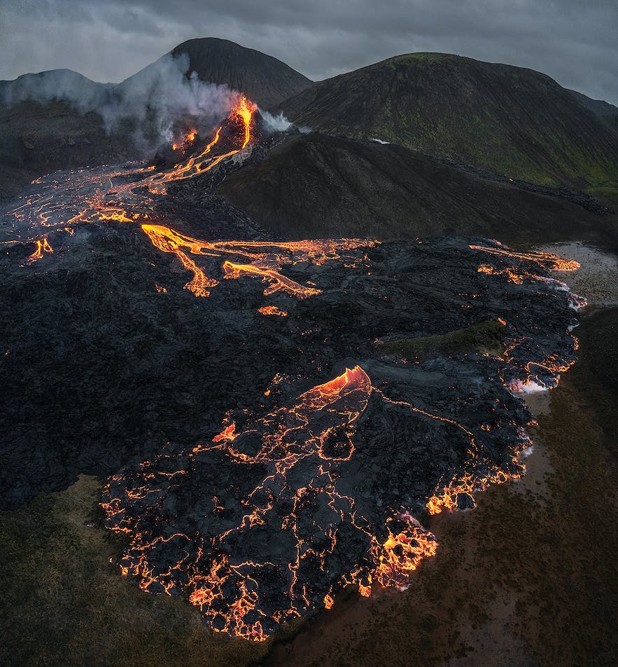 A glowing lava field stretches from Geldingadalur volcano.