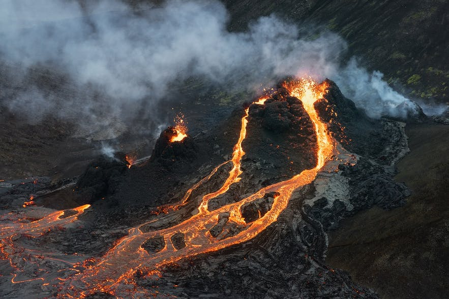 A close up of a crater at Geldingadalur's eruption in Iceland.
