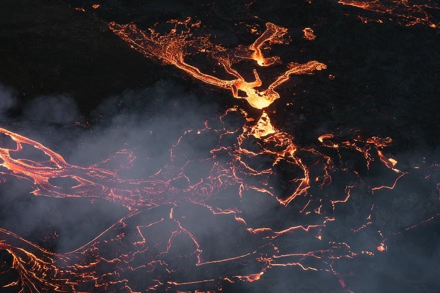 Geldingadalur's lava rivers resemble the Nazca Lines at night.