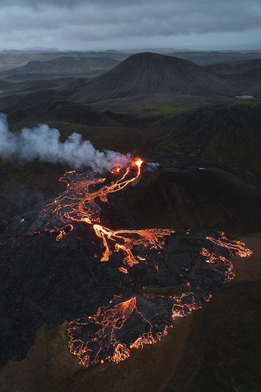 Geldingadalur volcano, as seen from above.